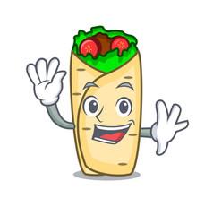 Waving burrito character cartoon style vector