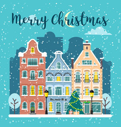 Winter christmas city street landscape vector