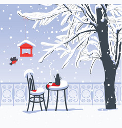 winter landscape with street cafe under the tree vector image