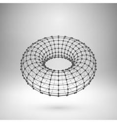 Wireframe mesh polygonal torus vector image
