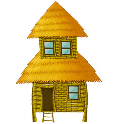 Wooden hut with two stories vector