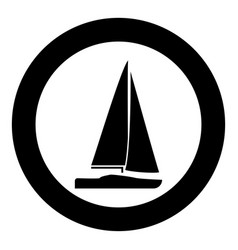 yacht icon black color simple image vector image