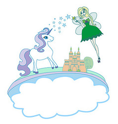 Castle Unicorn and fairy - doodle vector image