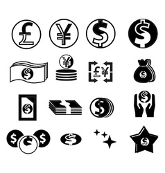 Currency icons set vector image
