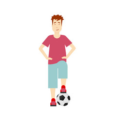 flat boy stands with football ball isolated vector image