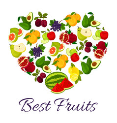 fresh juicy fruits in heart symbol vector image
