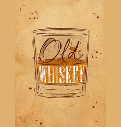 poster old whiskey craft vector image vector image
