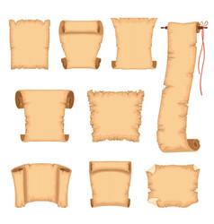 ancient paper scrolls set ancient parchments vector image