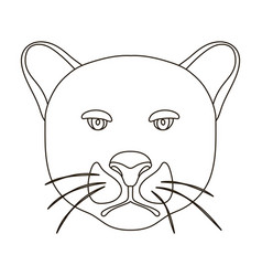 black panther icon in outline style isolated on vector image