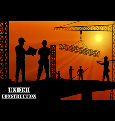 construction worker silhouette on the work place vector image