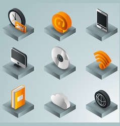 online library color gradient isometric icons vector image vector image