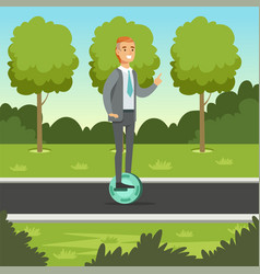 Businessman riding on one wheel electric scooter vector