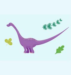 Cartoon dinosaur diplodocus vector