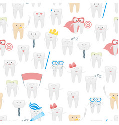 cartoon tooth seamless pattern background vector image vector image