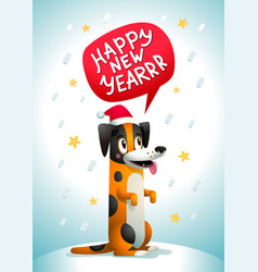 cute dog with happy new year inscription stylish vector image