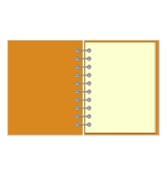 Open empty notebook with orange cover vector image