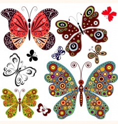 set abstract butterflies vector image