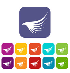 wing icons set vector image vector image