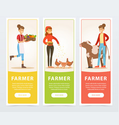 farmers with farm vegetables and rural cow and vector image vector image