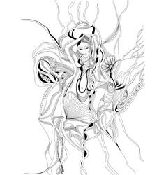 Hand drawn girl dancing belly dance vector image vector image