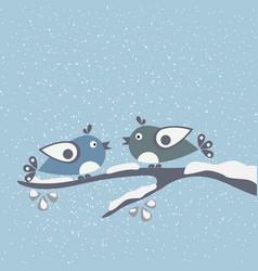 hello winter card with cartoon birds a on a vector image vector image