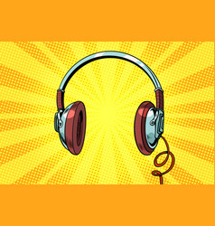 retro headphones on a yellow background vector image