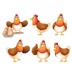 Six fat hens vector image vector image