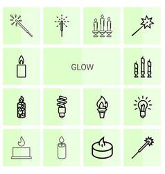14 glow icons vector image