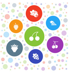 7 berry icons vector