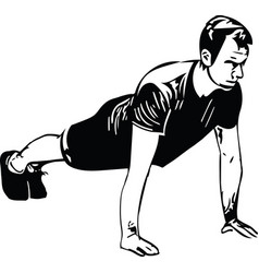 Active young man doing push-ups in gym vector