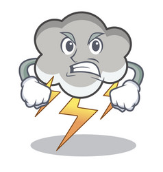 Angry thunder cloud character cartoon vector