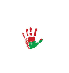belarus flag and hand on white background vector image