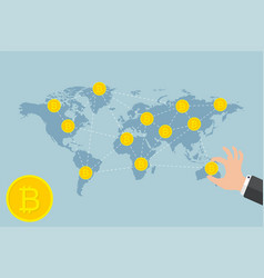 bitcoin business concept businessman hand holding vector image