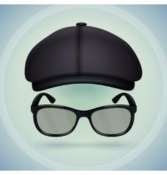 Black cap and eyeglasses vector image