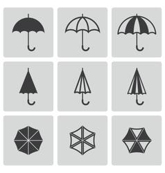 black umbrella icons set vector image