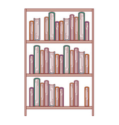 books stacked in shelf of three levels in colorful vector image