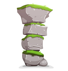 Boulders stack with grass vector