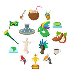 Brazil icons cartoon vector