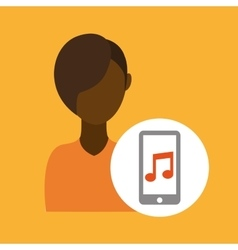Character afroamerican smartphone music vector