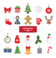 christmas decorative elements and stickers set vector image
