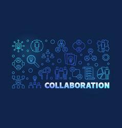 collaboration outline blue modern banner vector image