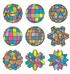 Collection of 9 complex dimensional spheres and vector image