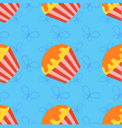 colorful seamless pattern of appetizing cupcakes vector image