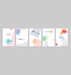 Colorful watercolor cute card set vector