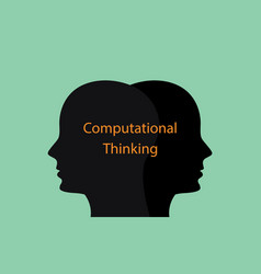 Computational thinking concept with human head vector