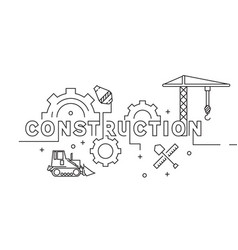 construction flat line design geometric doodle vector image