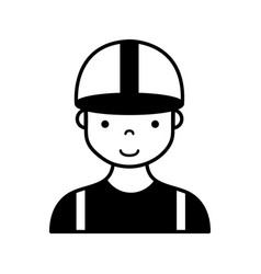 Contour profesional man worker with cap and vector