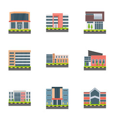 Corporate head offices flat icons vector