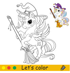 Cute unicorn witch with a broom coloring book page vector