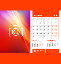 Desk calendar planner template for august 2020 vector